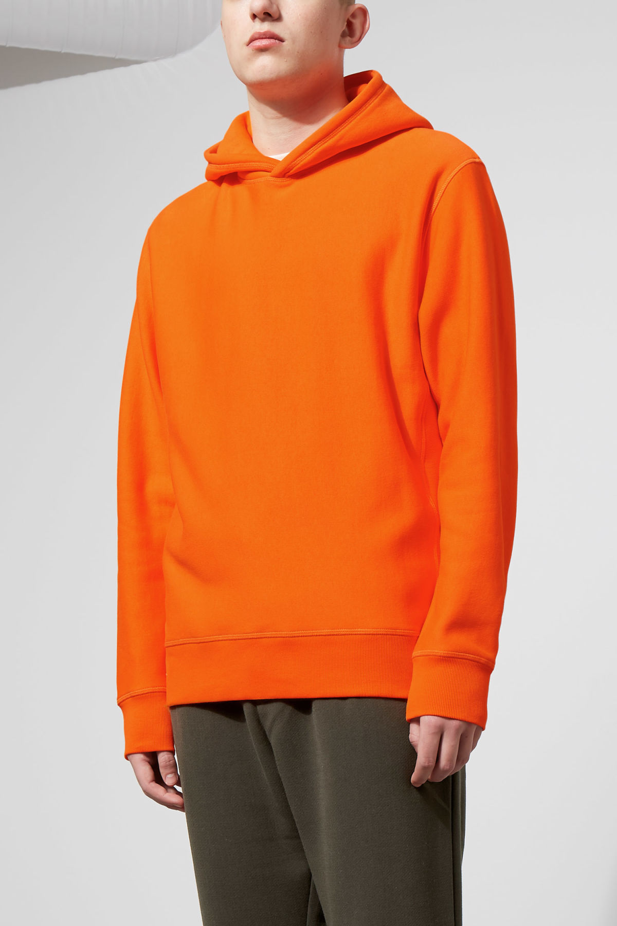 Model front image of Weekday sol hoodie in orange