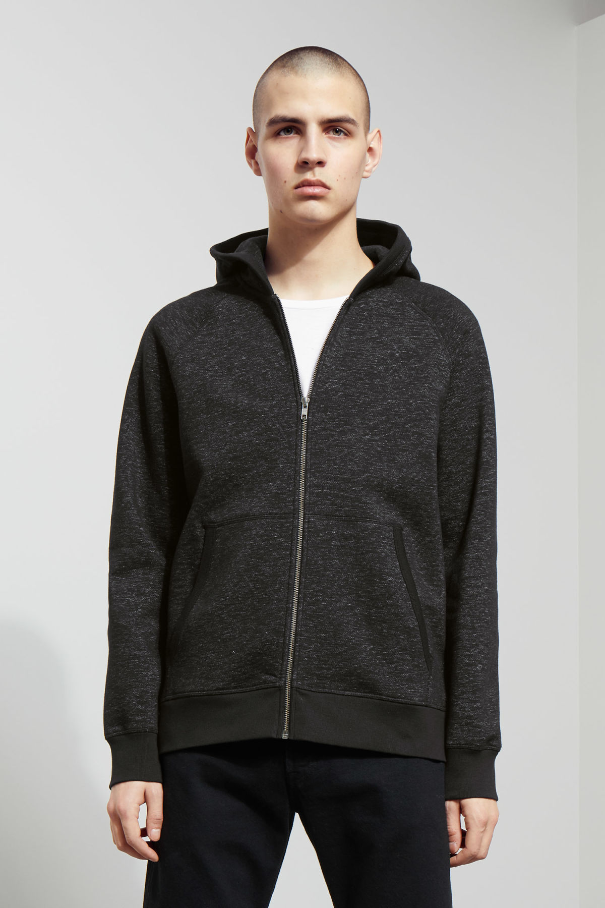 Model front image of Weekday stark hoodie in black