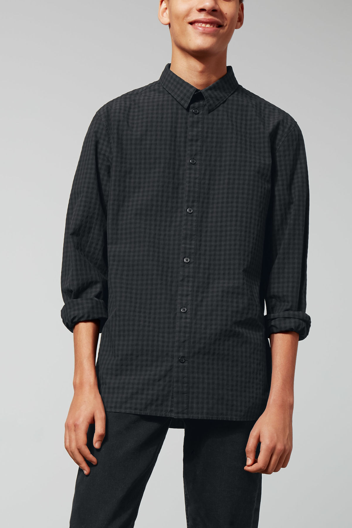 Model front image of Weekday florida check shirt in black
