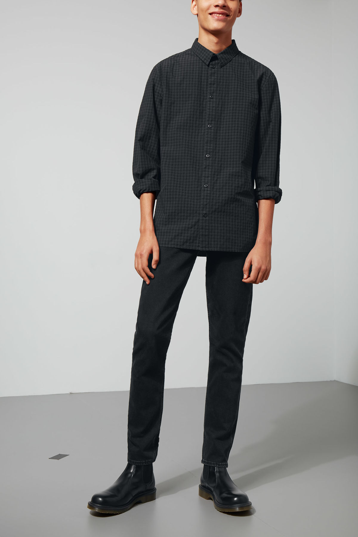 Model side image of Weekday florida check shirt in black
