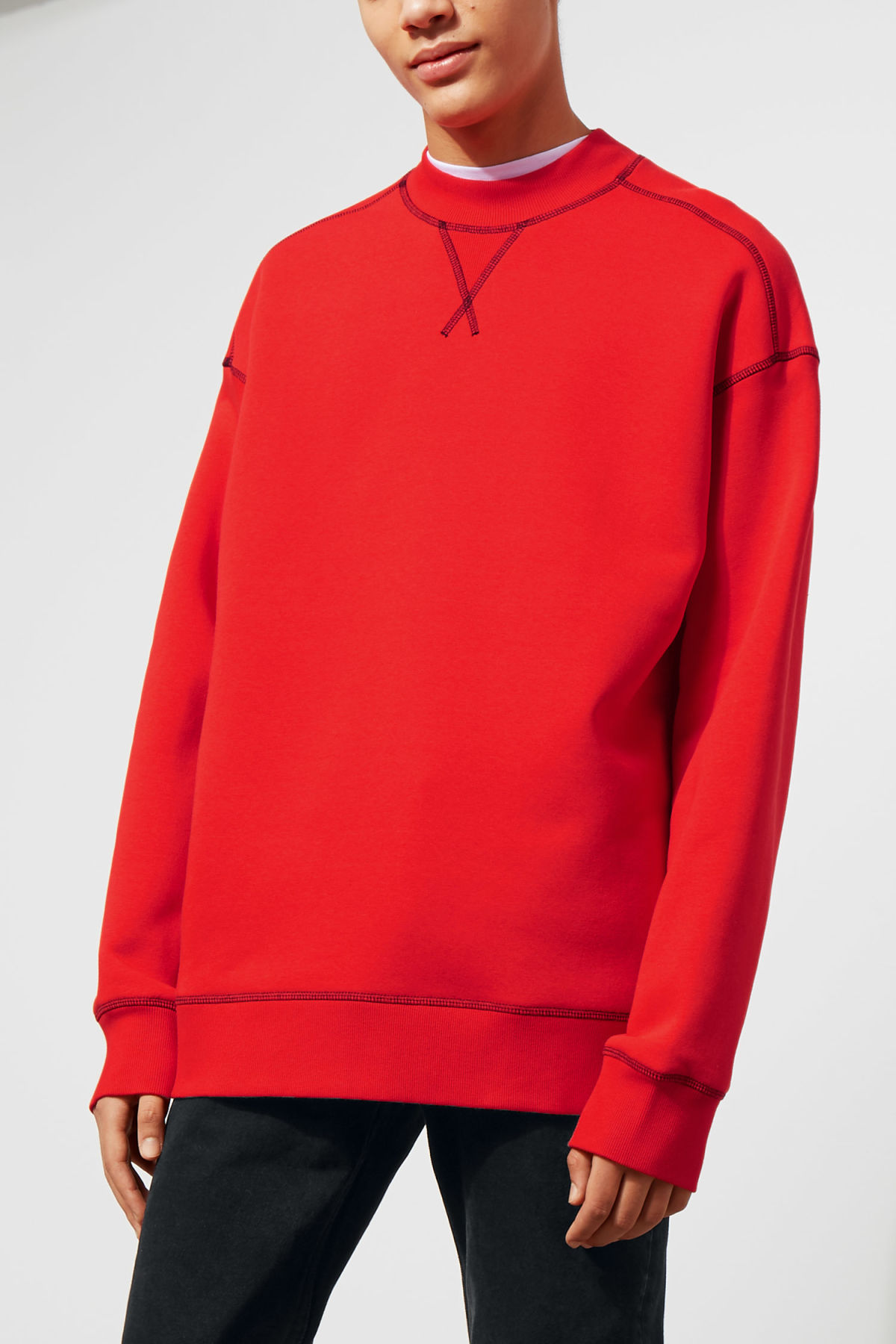 Model front image of Weekday syntax sweatshirt in red
