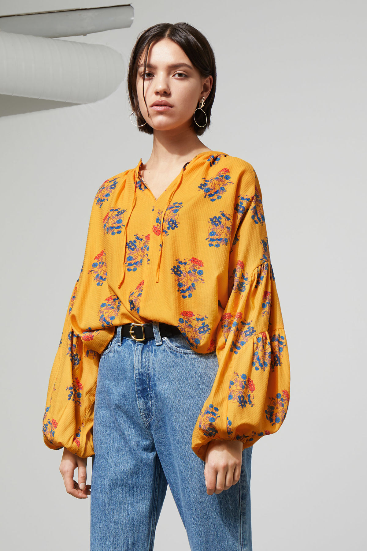 Model front image of Weekday miles blouse in yellow