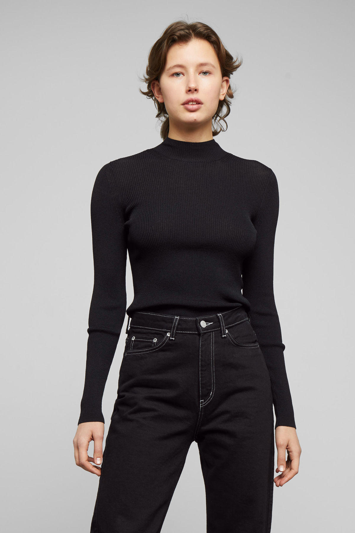 Model front image of Weekday haze knit top in black