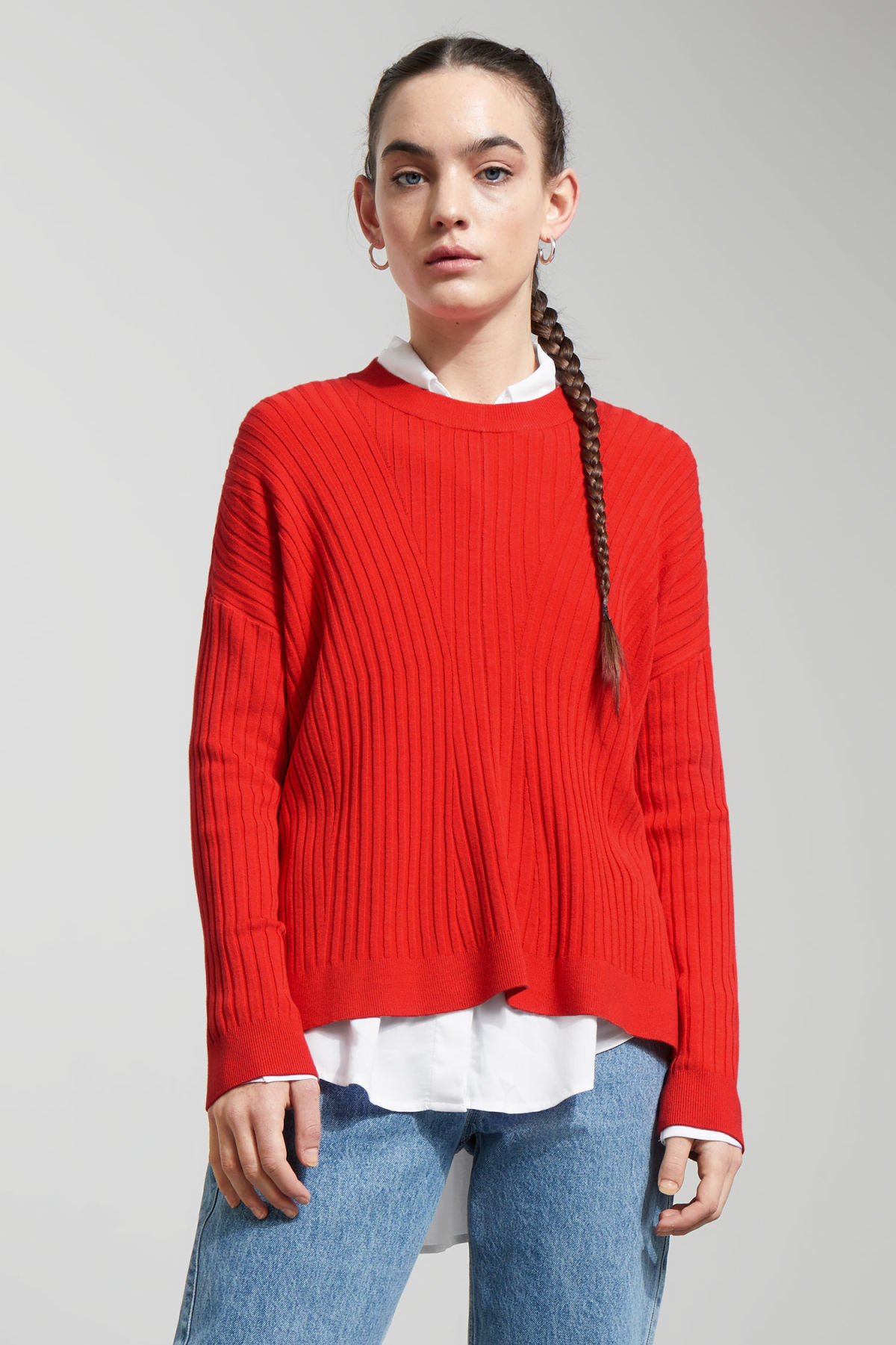 Model front image of Weekday ron directional sweater in orange
