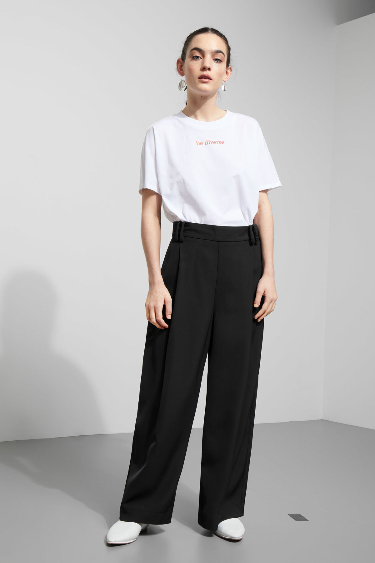 Model front image of Weekday mount trousers in black