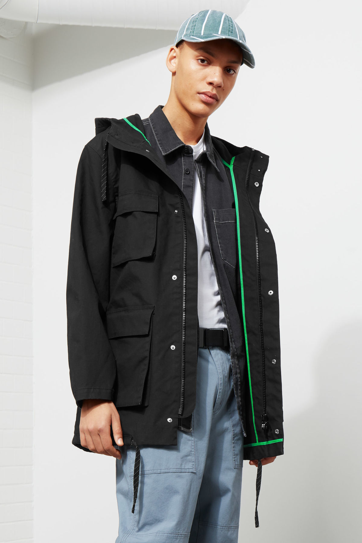 Model front image of Weekday ashcan parka in black