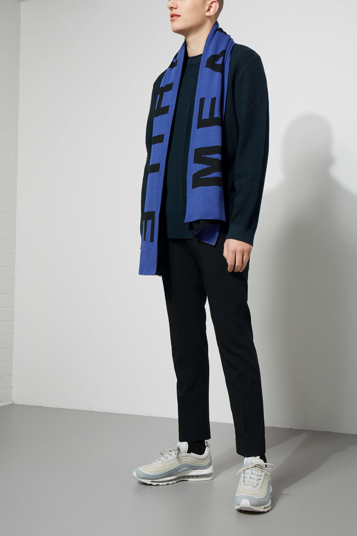 Model side image of Weekday infuse rib sweater in blue