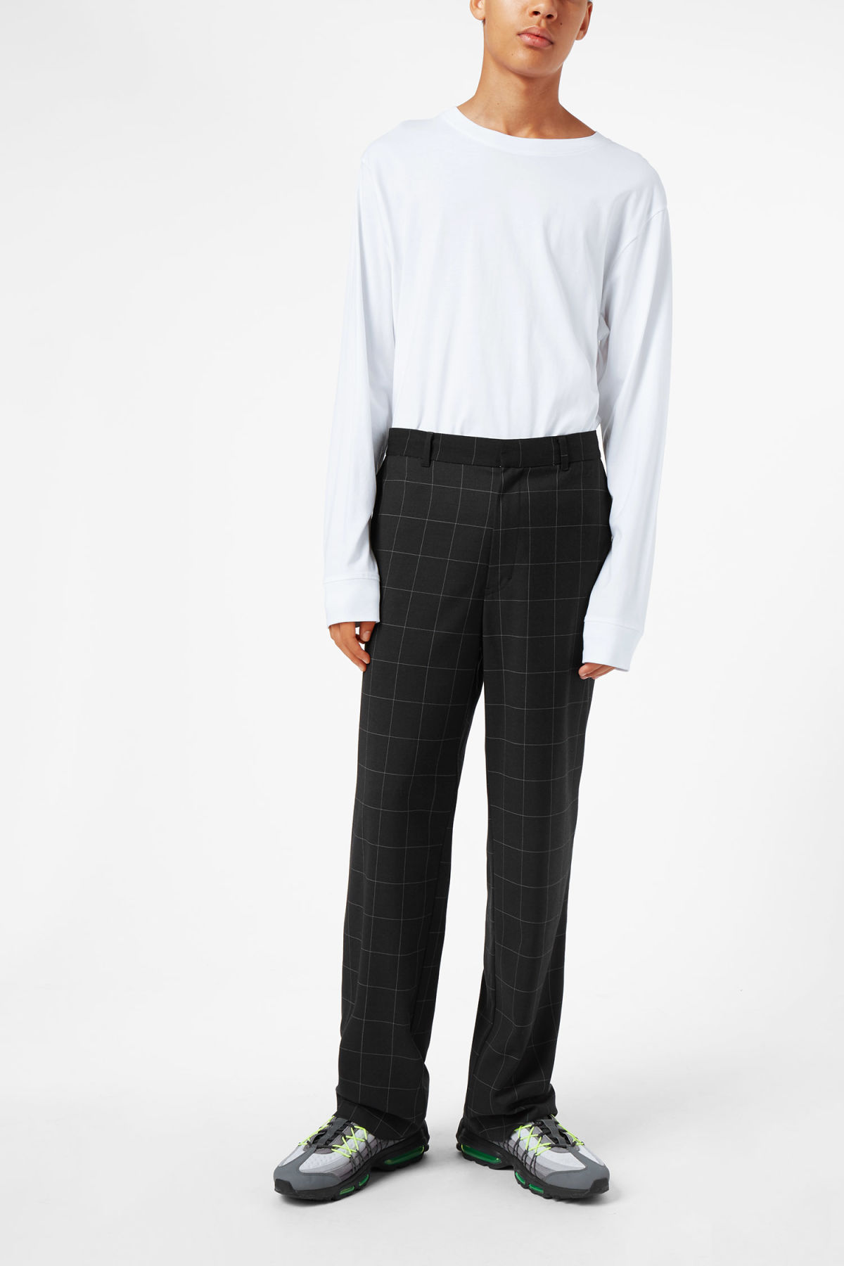 Model front image of Weekday sala trousers in black