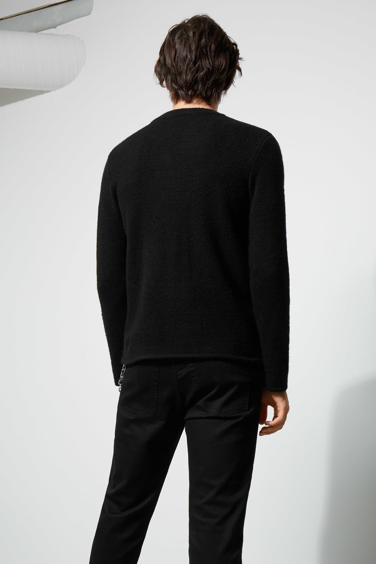 Model back image of Weekday swift checked sweater  in black