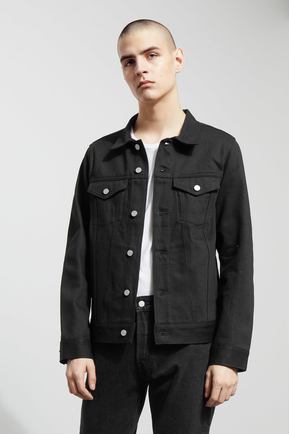 Model front image of Weekday single unwashed black jacket in black