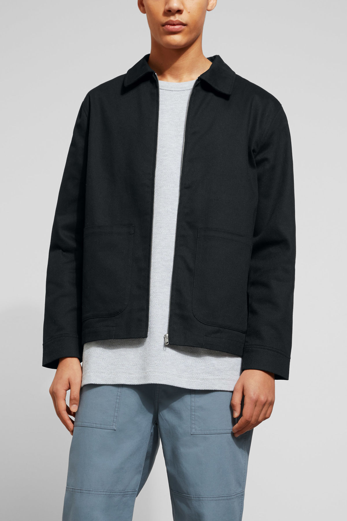 Model front image of Weekday camp jacket in black