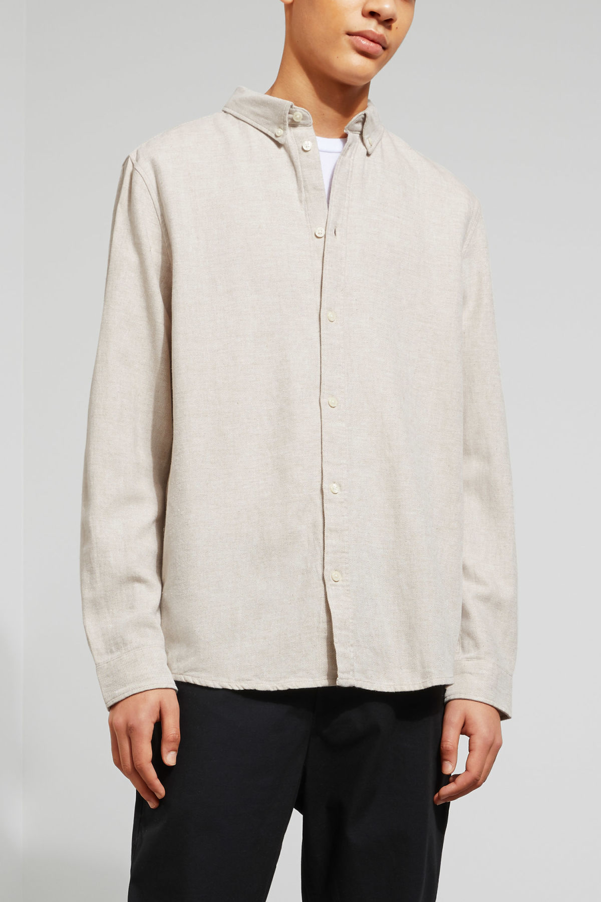 Model front image of Weekday seattle twotwill shirt in beige