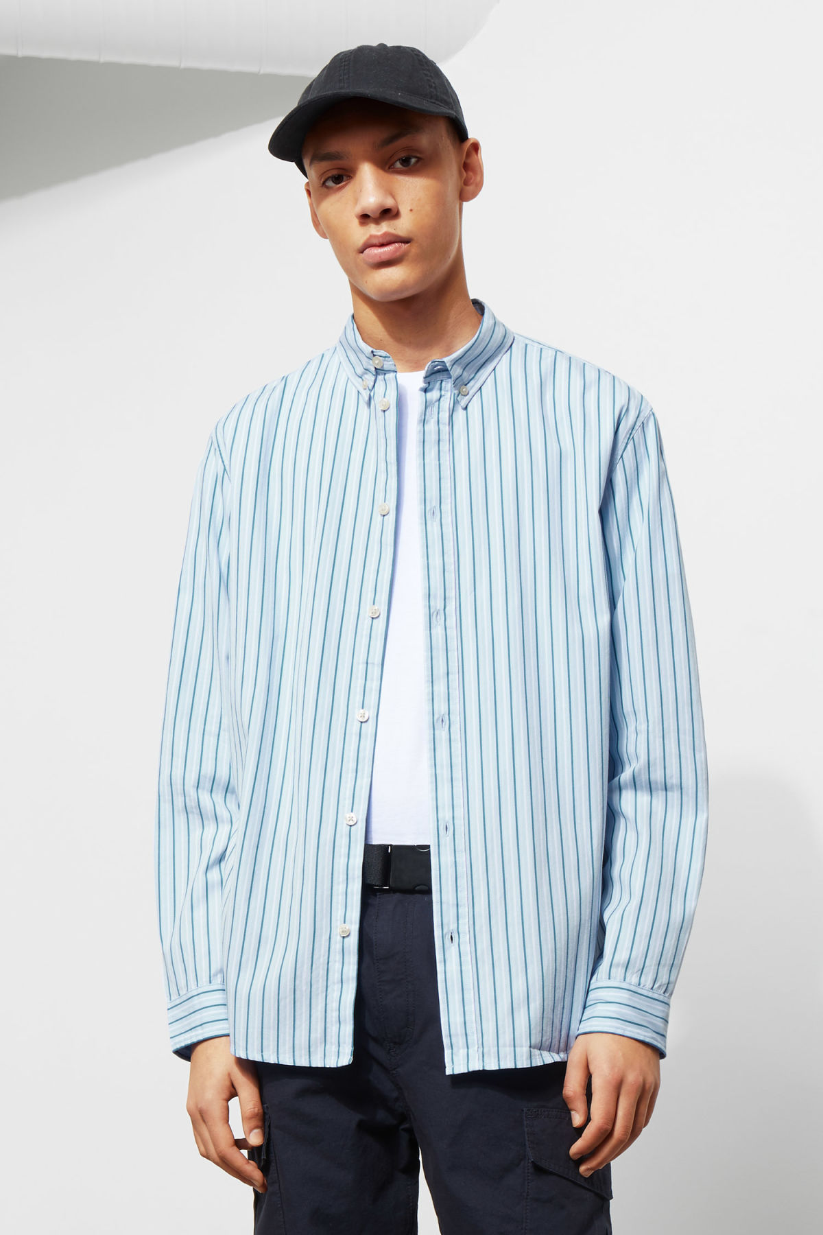 Model front image of Weekday seattle stripe shirt in blue