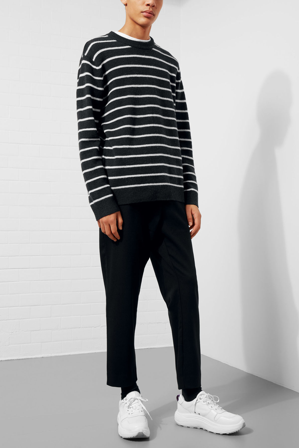 Model front image of Weekday vinci stripe sweater  in blue