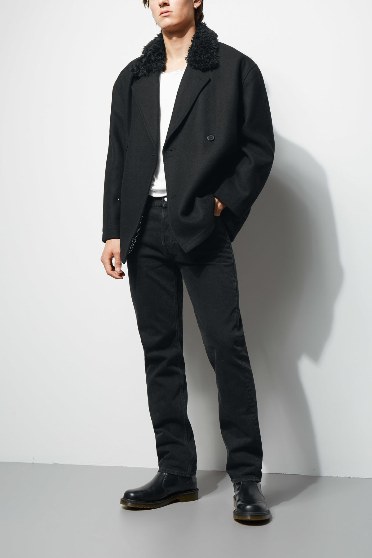 Model front image of Weekday clef peacoat in black