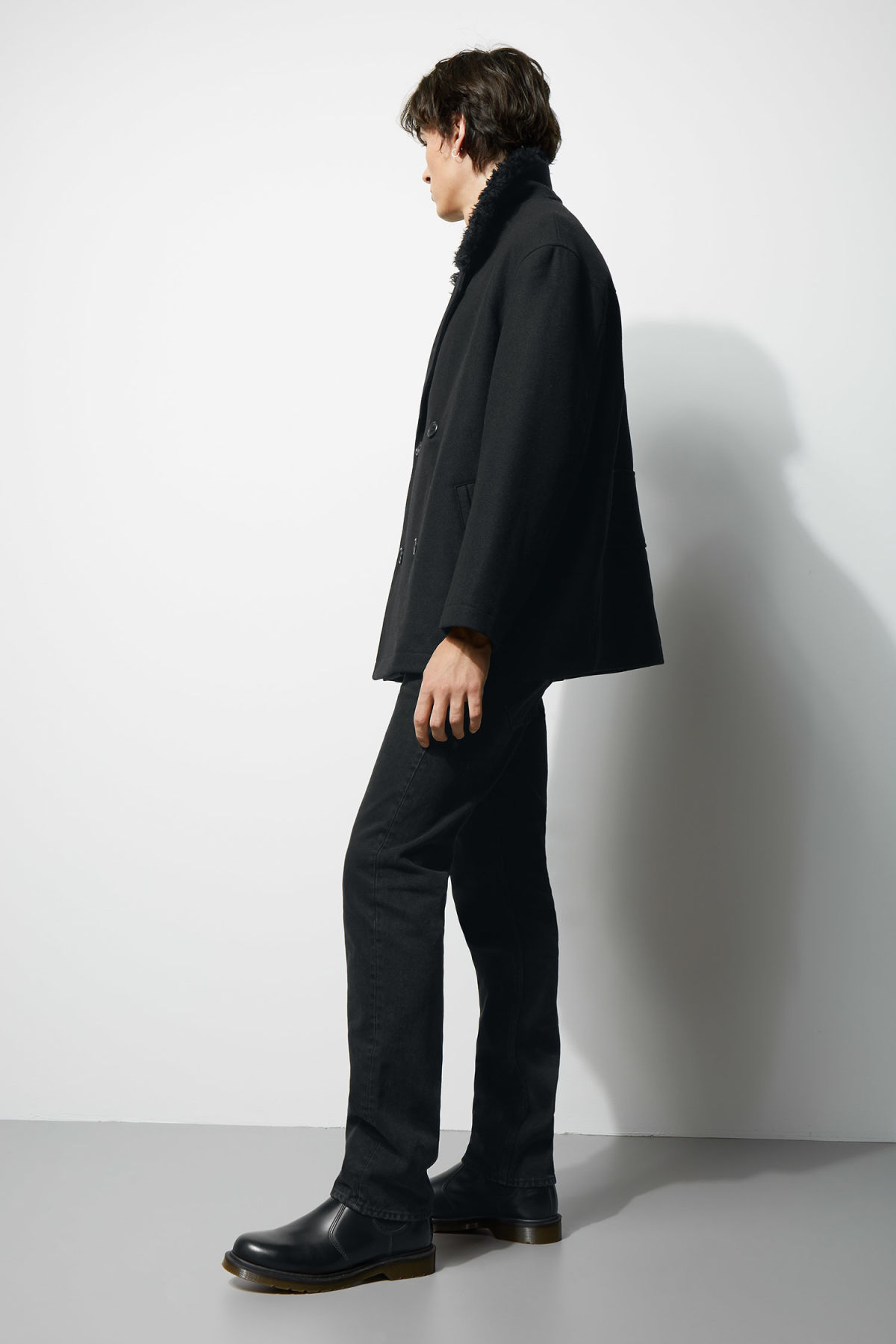 Model back image of Weekday clef peacoat in black