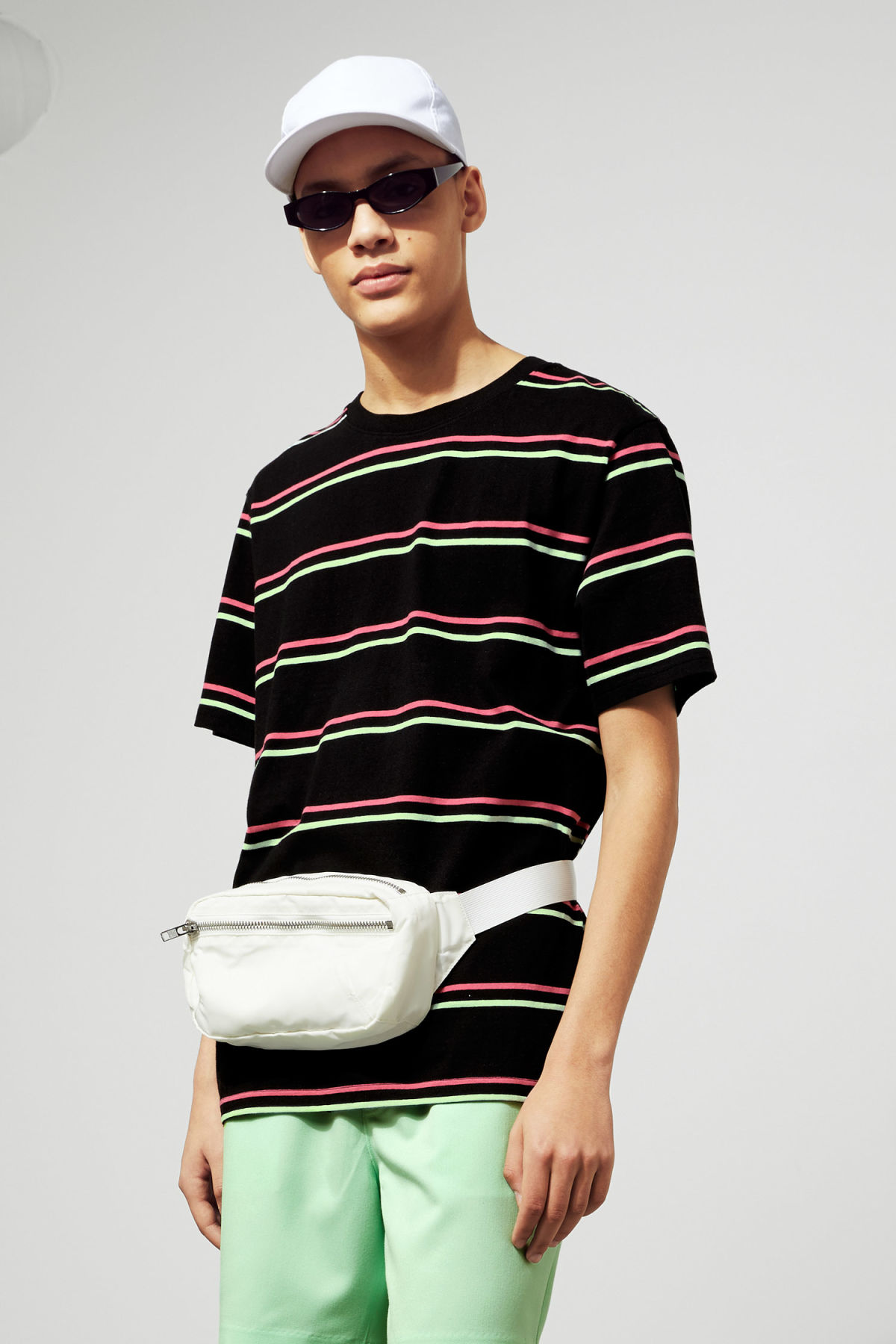 Model front image of Weekday frank striped t-shirt  in black