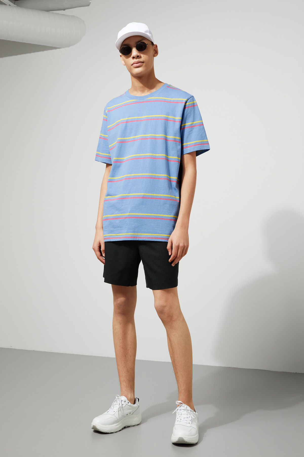 Model front image of Weekday frank striped t-shirt  in blue