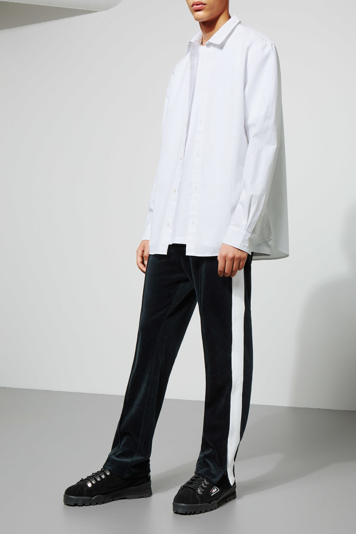 Model side image of Weekday pablo structured shirt in white