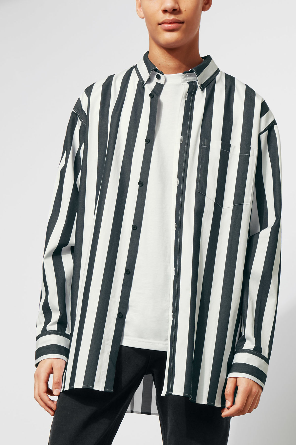 Model front image of Weekday burg stripe shirt  in white