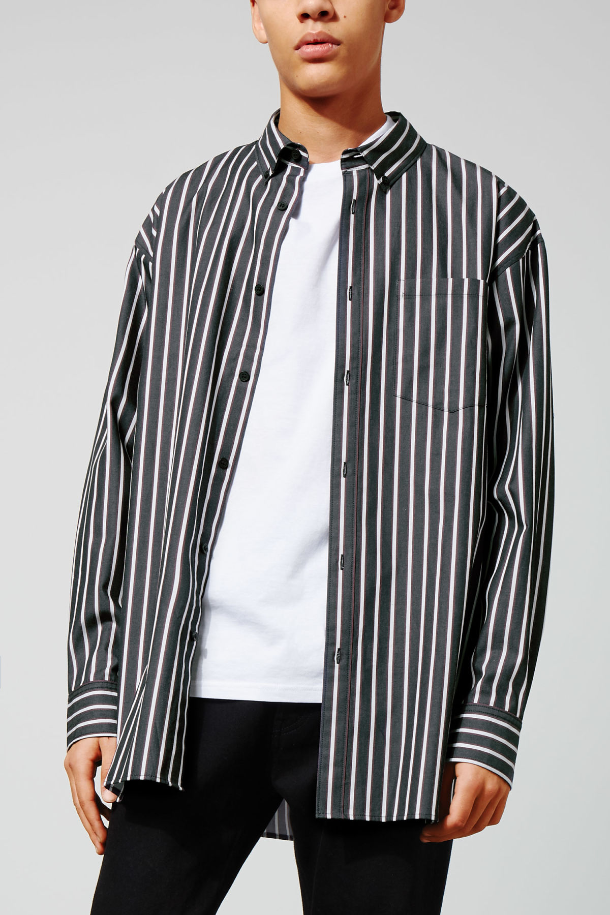 Model front image of Weekday burg stripe shirt  in blue