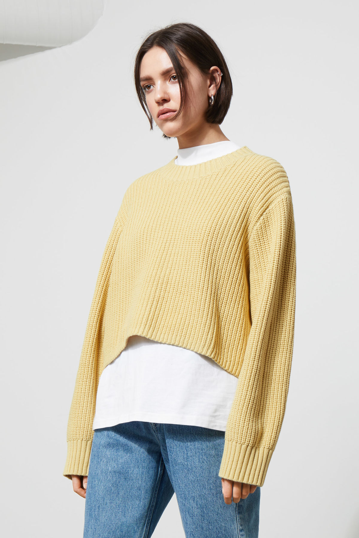 Model front image of Weekday mahal sweater in yellow