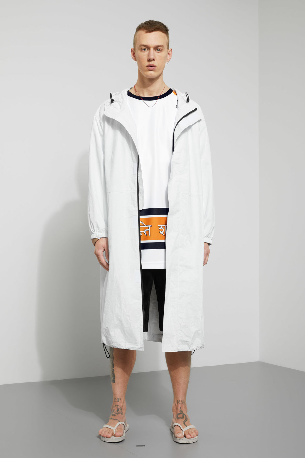 Model front image of Weekday accord parka in white