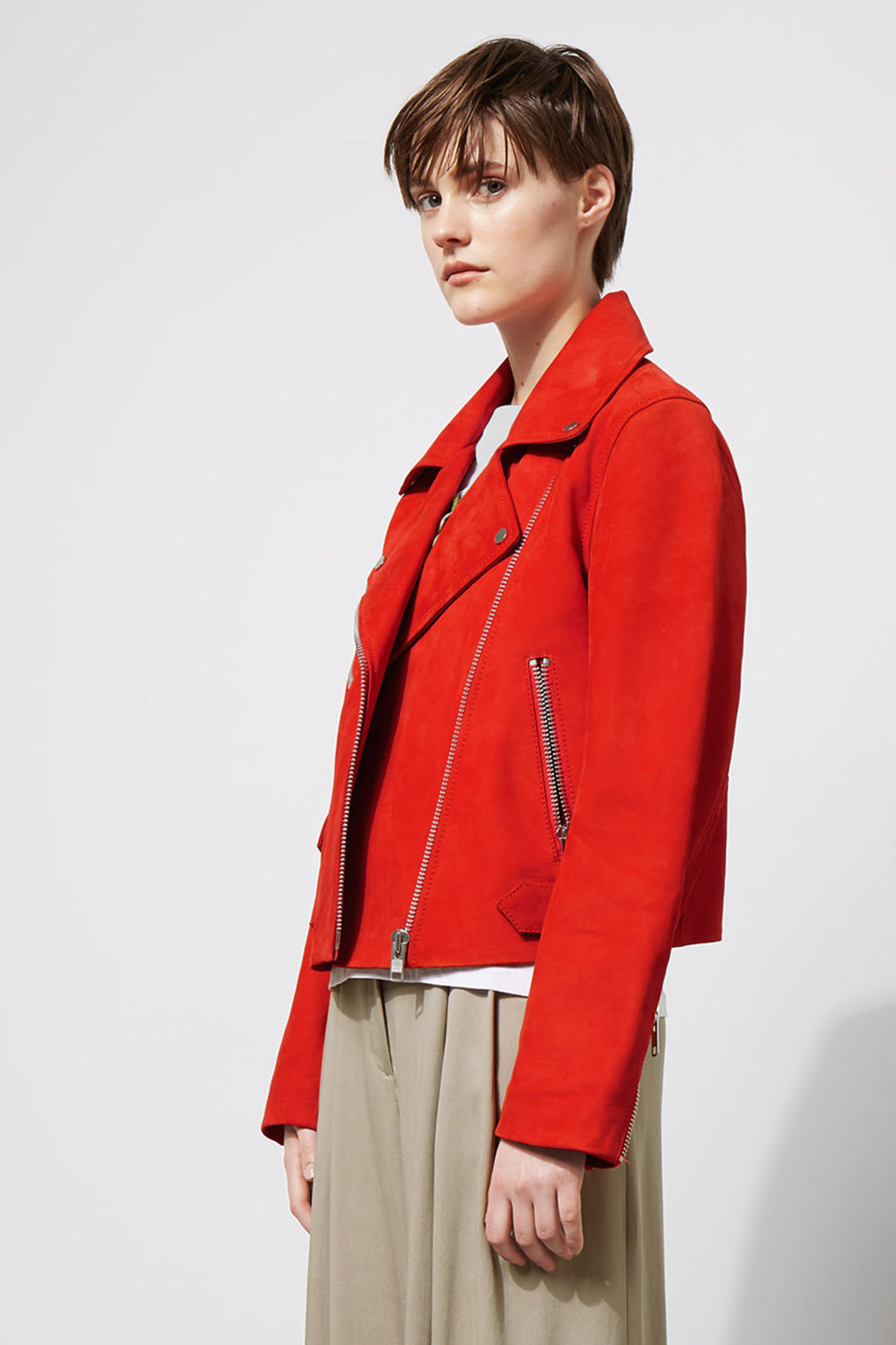 Model front image of Weekday jemina suede jacket in red