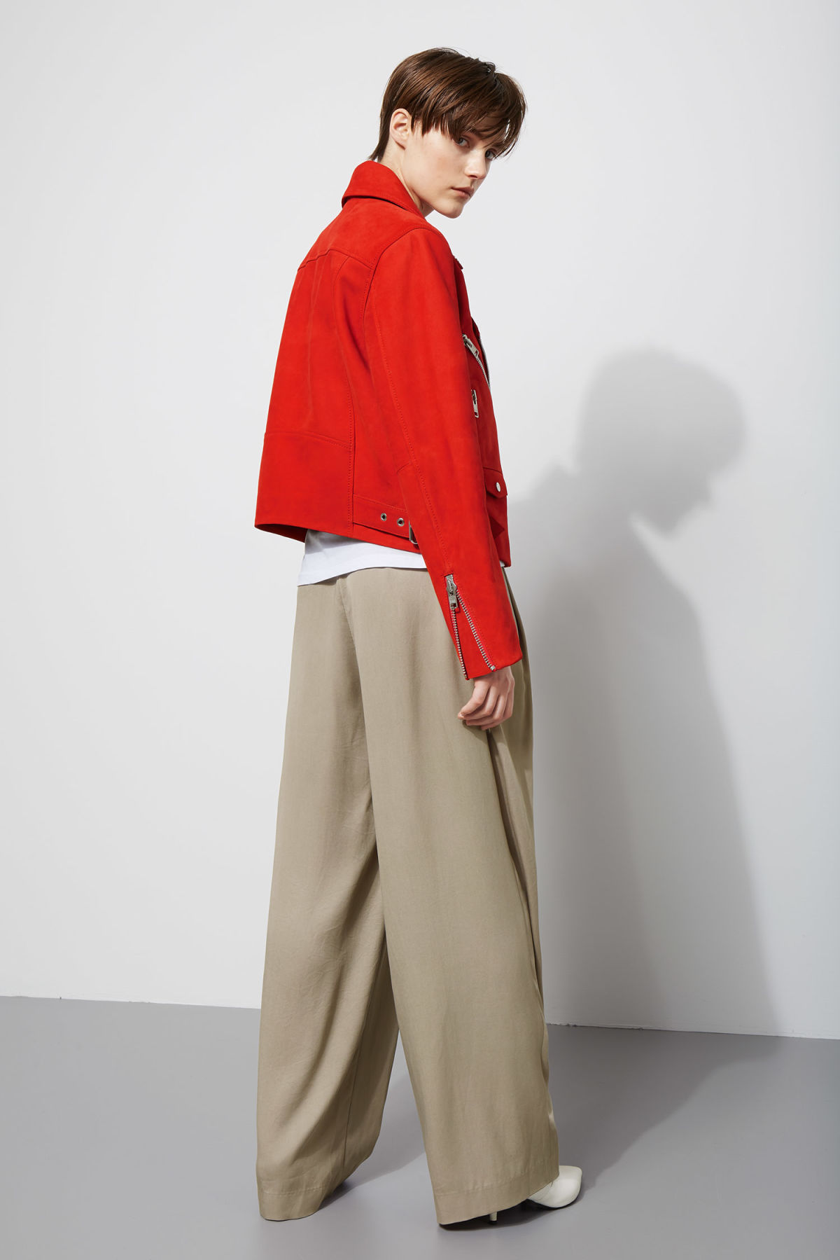 Model side image of Weekday jemina suede jacket in red