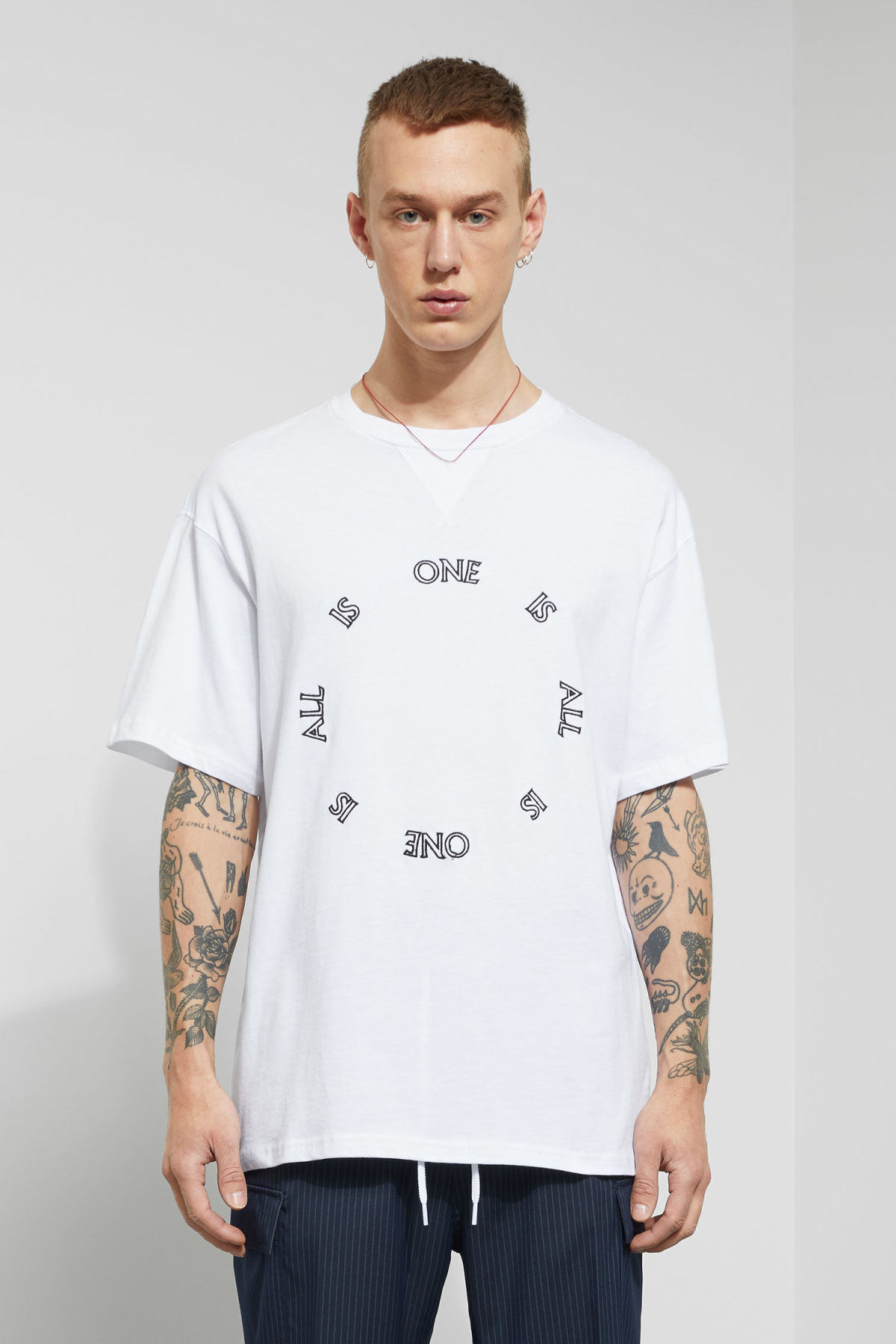 Model front image of Weekday treta one is all t-shirt  in white