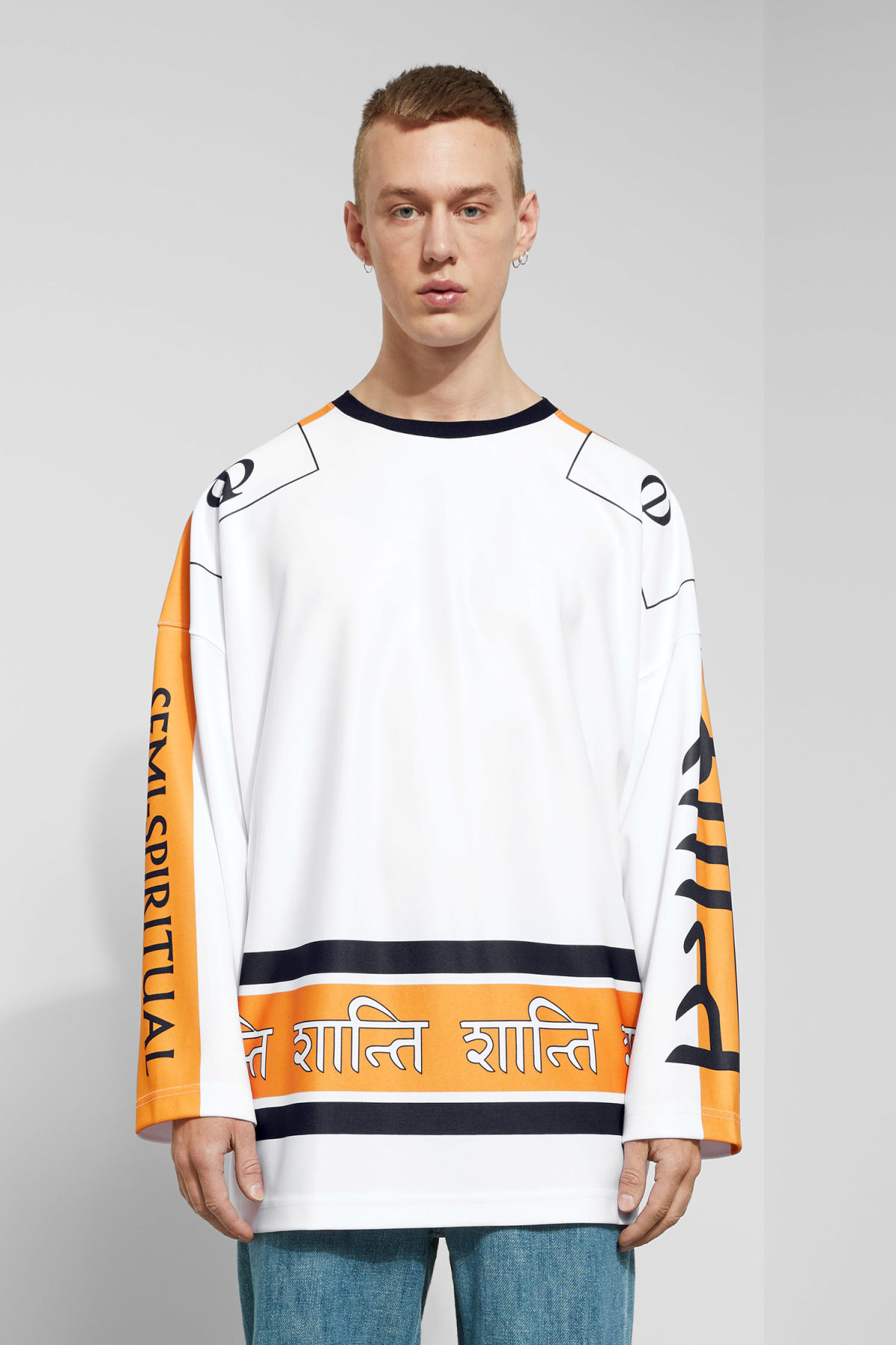 Model front image of Weekday rama long sleeve in white