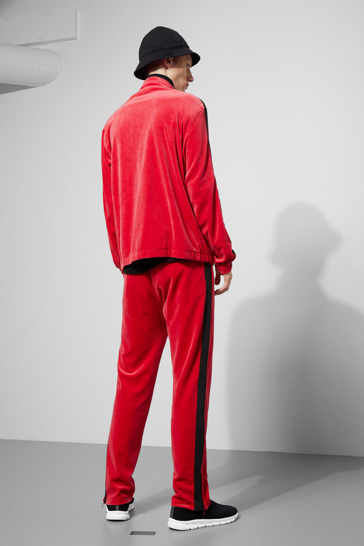 Model side image of Weekday track velour sweatshirt  in red