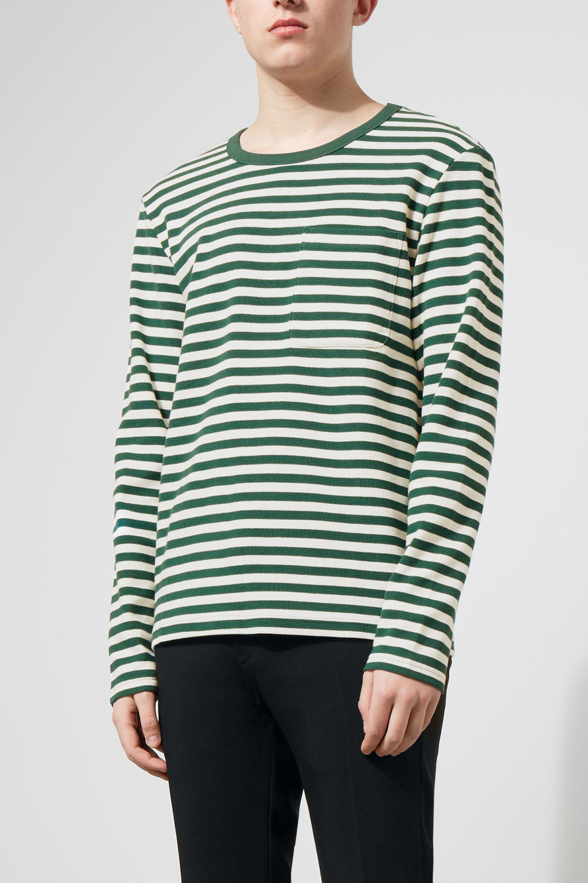 Model front image of Weekday strip stripe long stripe in green