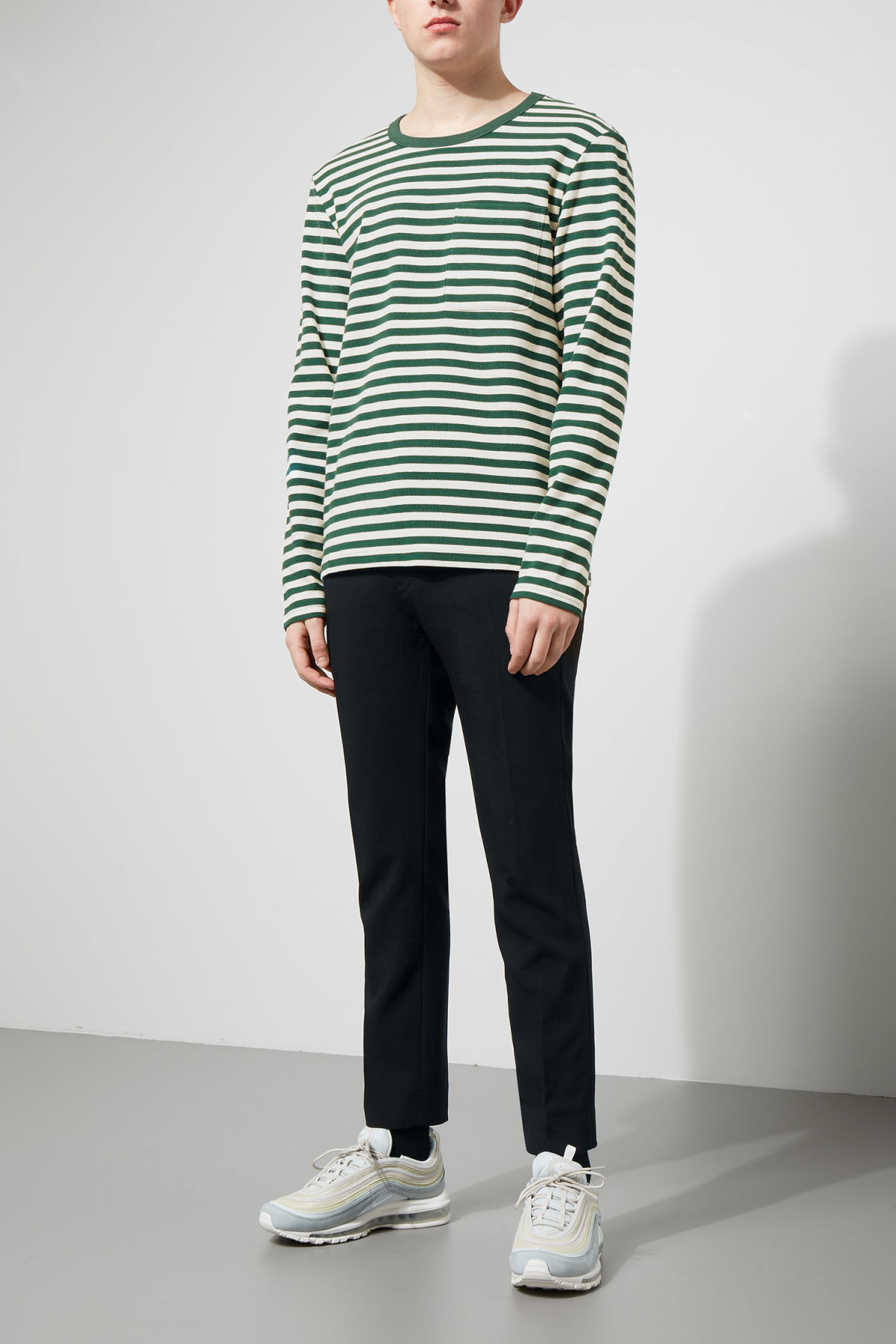 Model side image of Weekday strip stripe long stripe in green