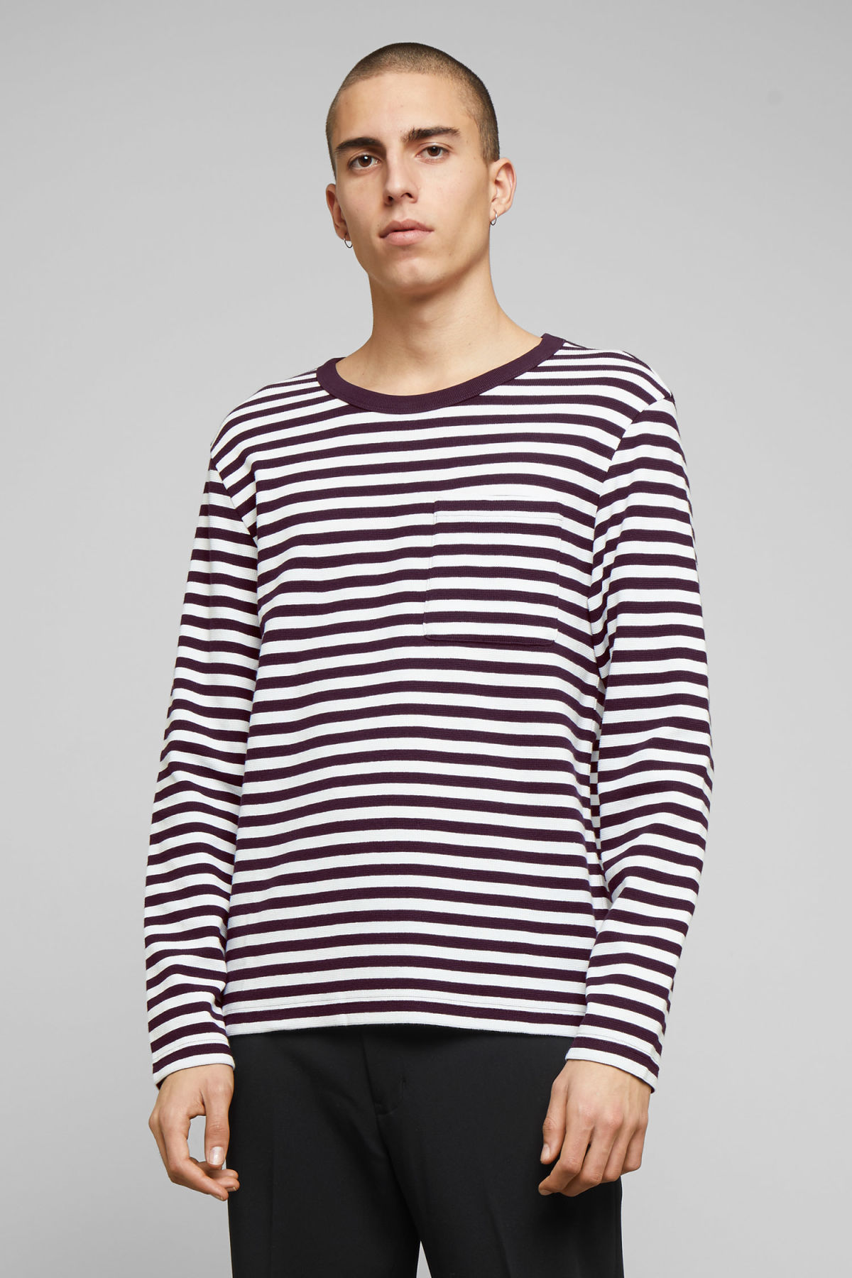 Model front image of Weekday strip stripe long stripe in purple