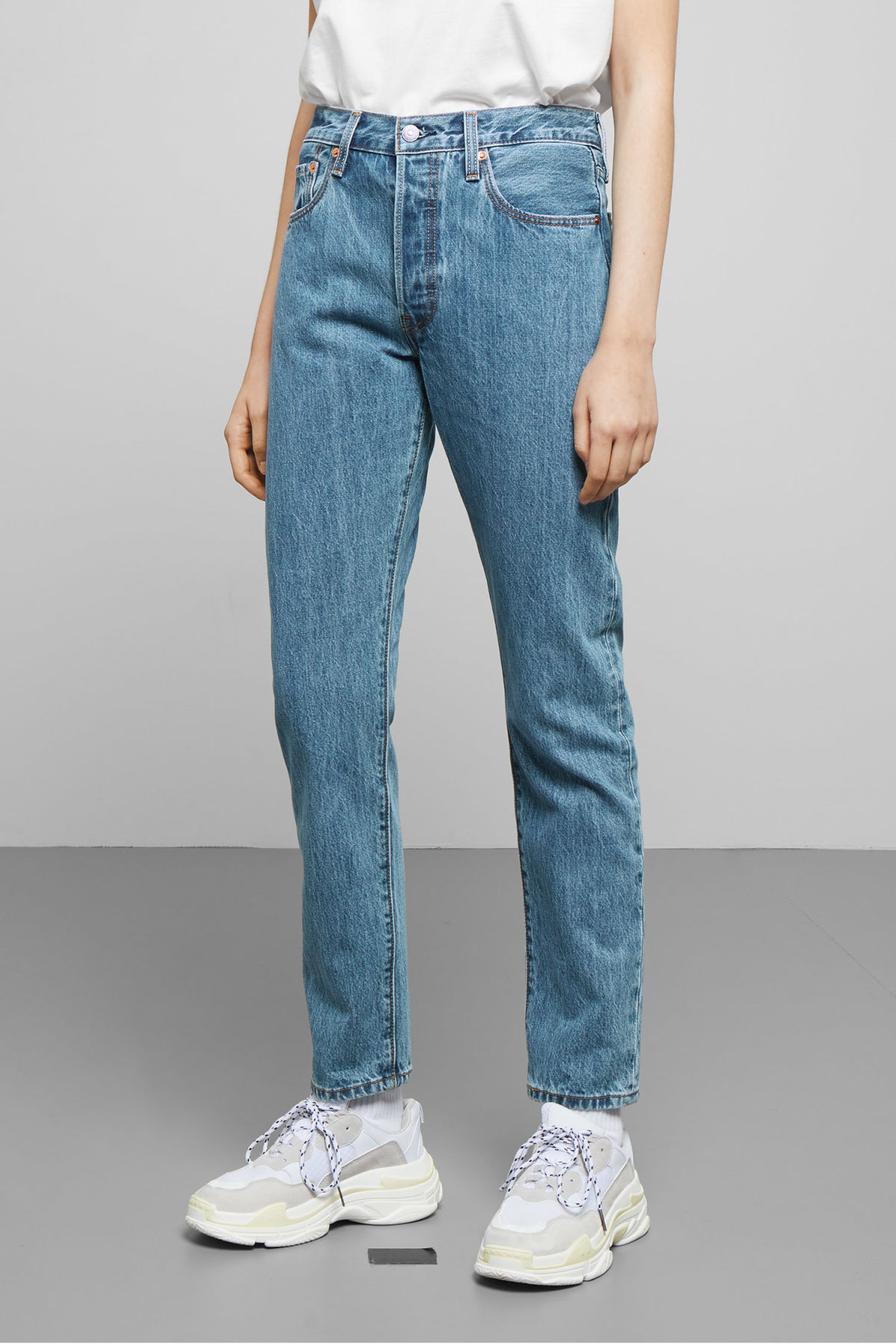 Model front image of Weekday 501 skinny rolling dice jeans in blue