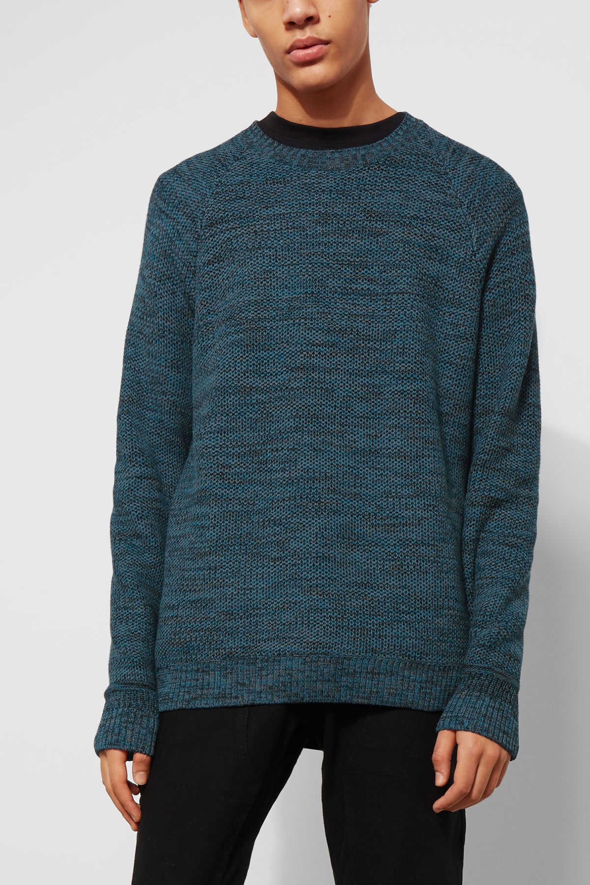 Model front image of Weekday cave sweater in blue