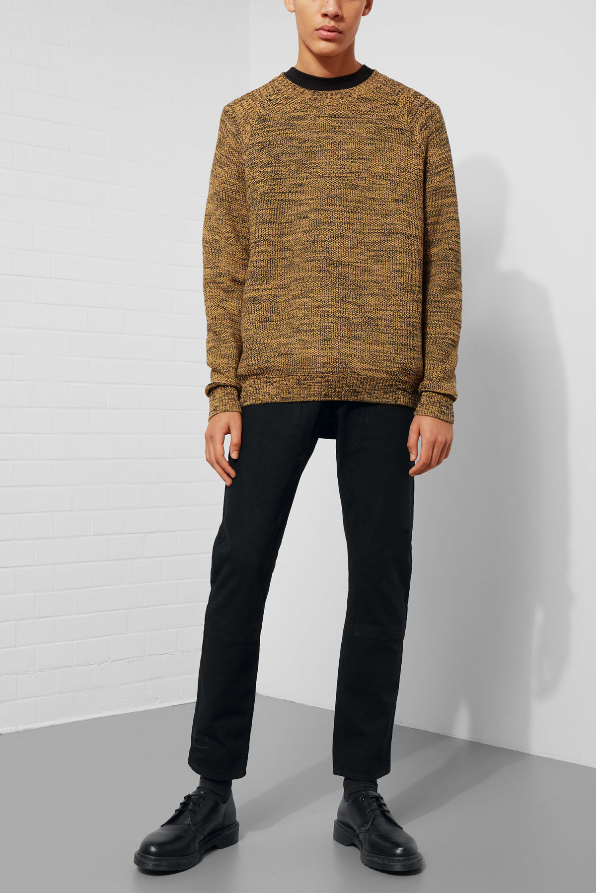 Model side image of Weekday cave sweater in yellow