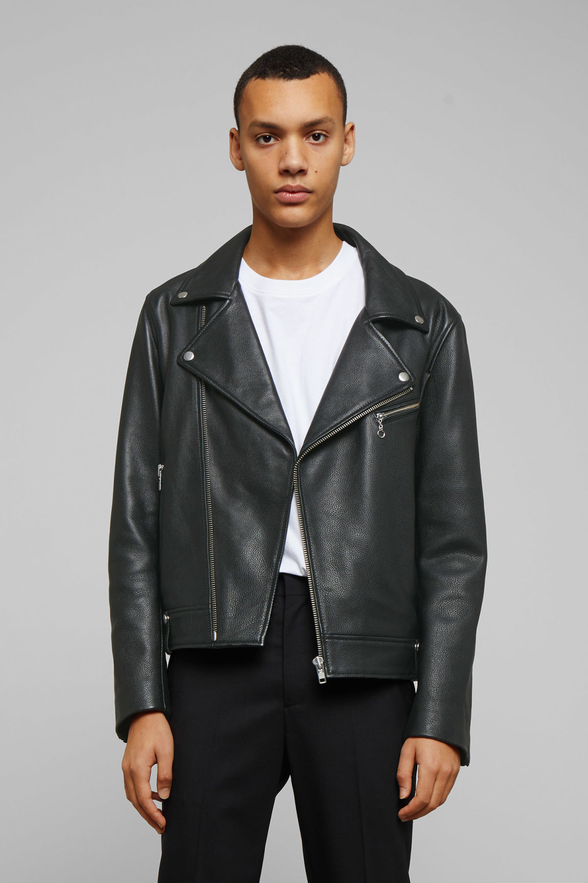 Model front image of Weekday biker leather jacket in black