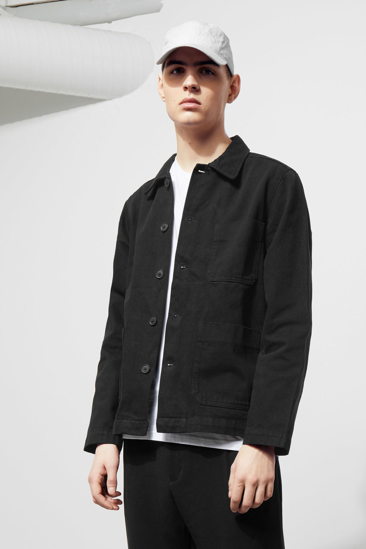 Model front image of Weekday generic od black jacket  in black