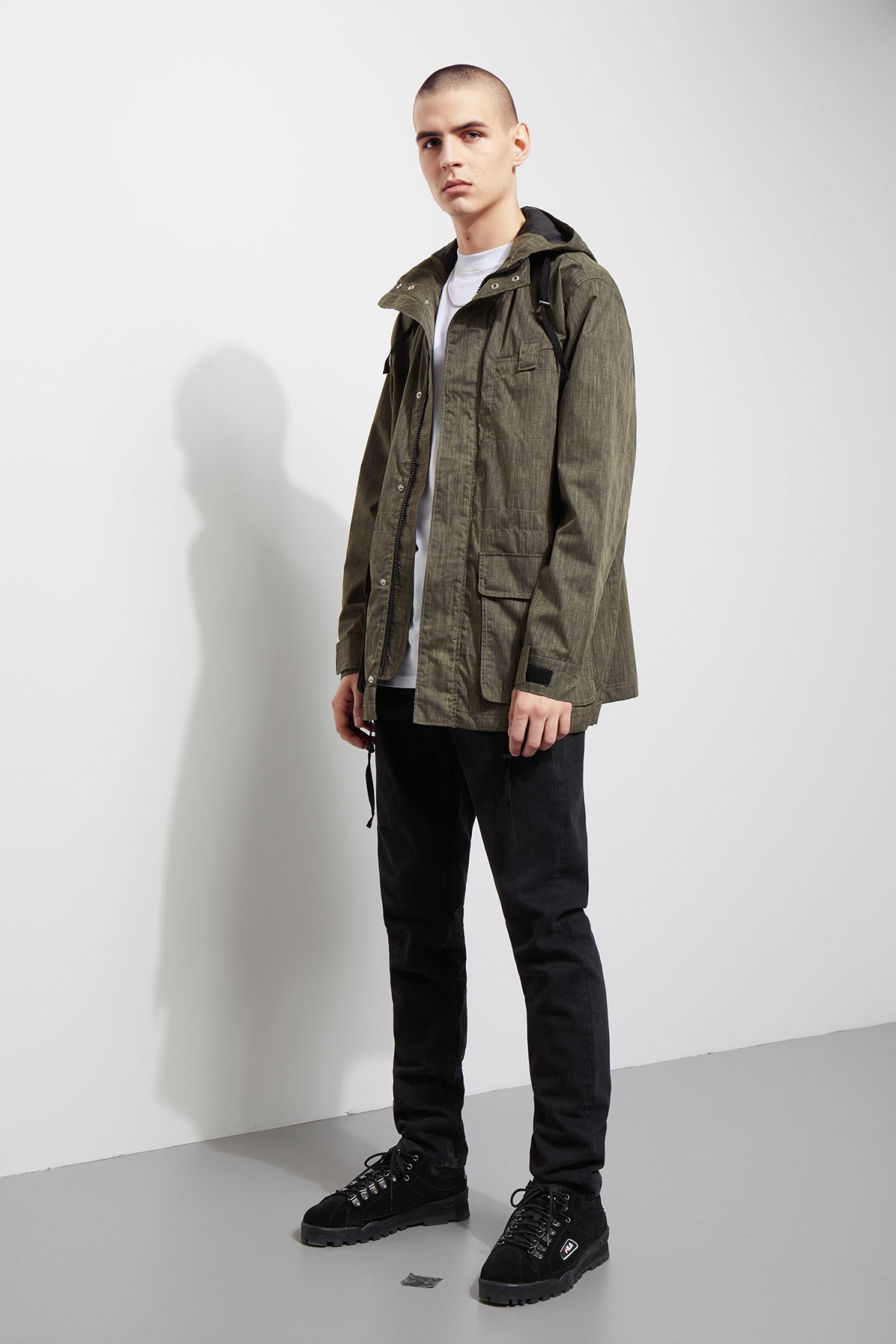 Model side image of Weekday essex jacket in black