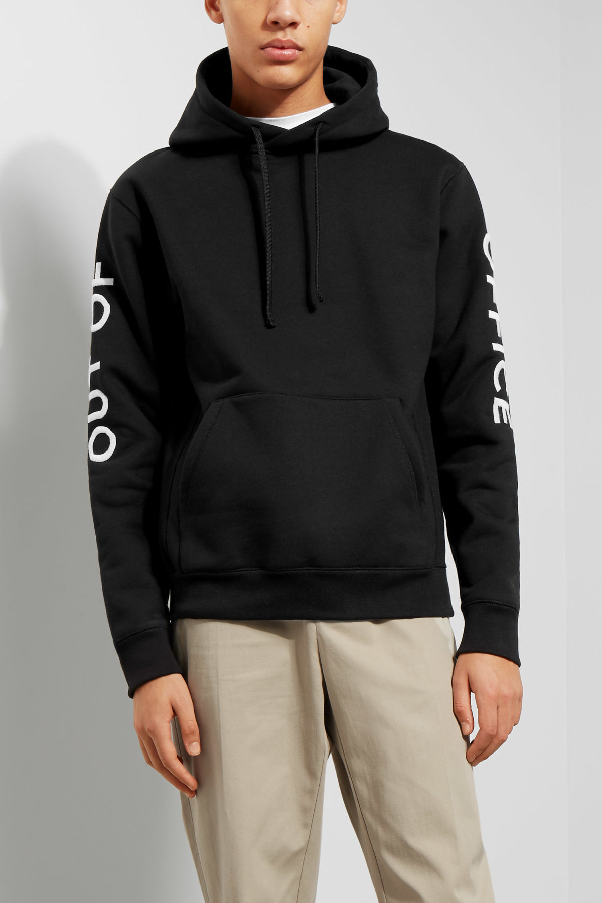 Model front image of Weekday matty hoodie  in black