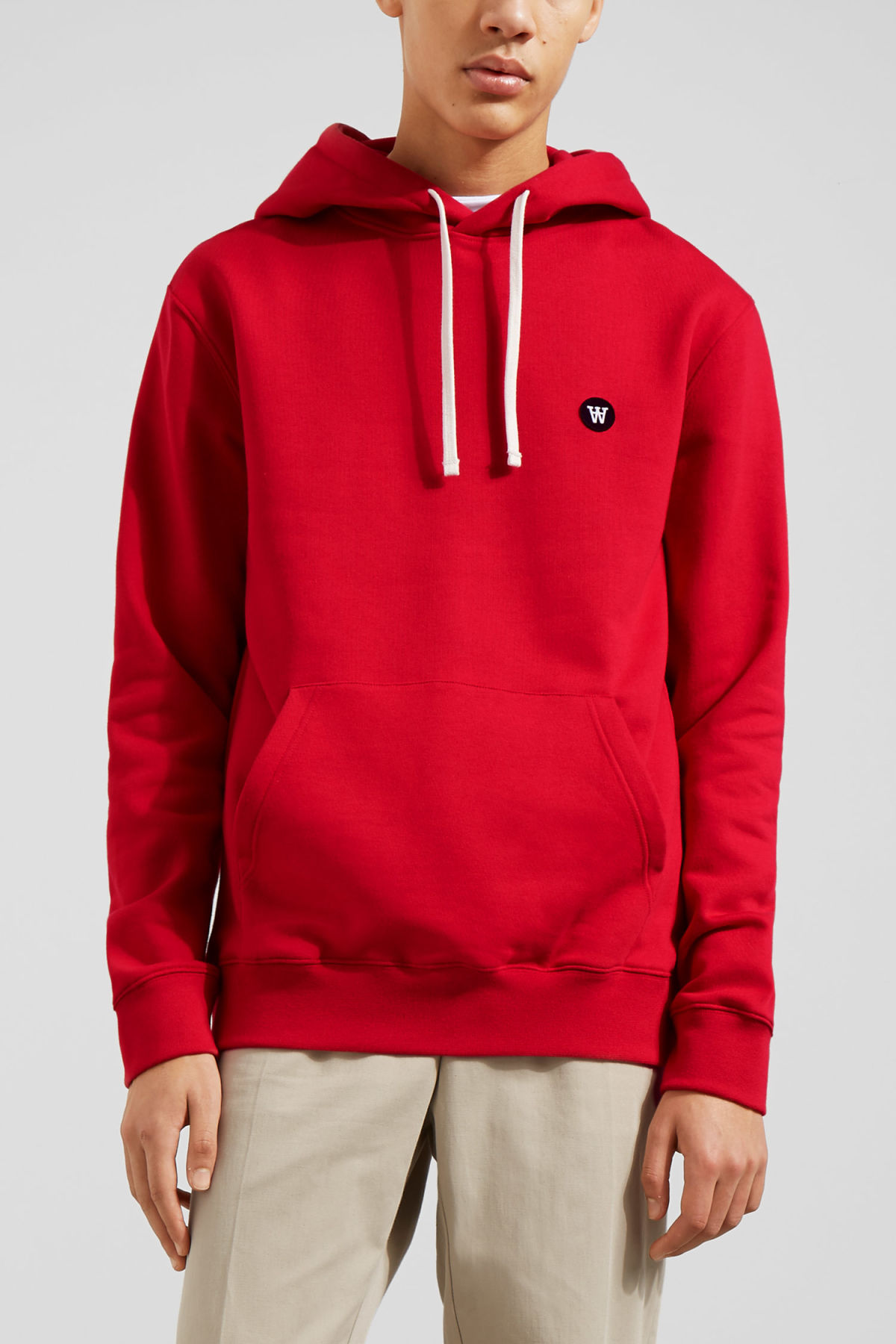 Model front image of Weekday ian hoodie  in red