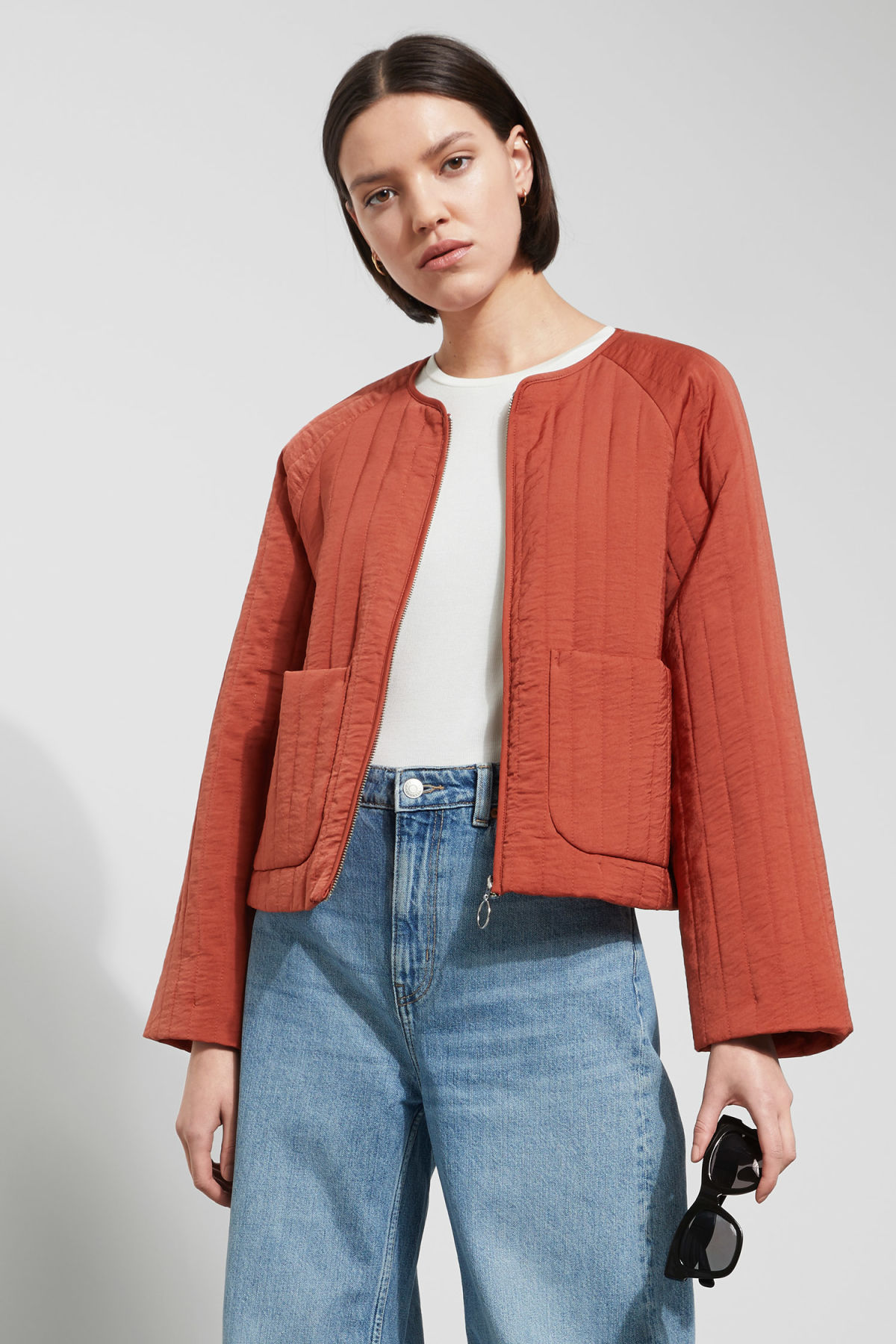 Model front image of Weekday angie jacket in orange