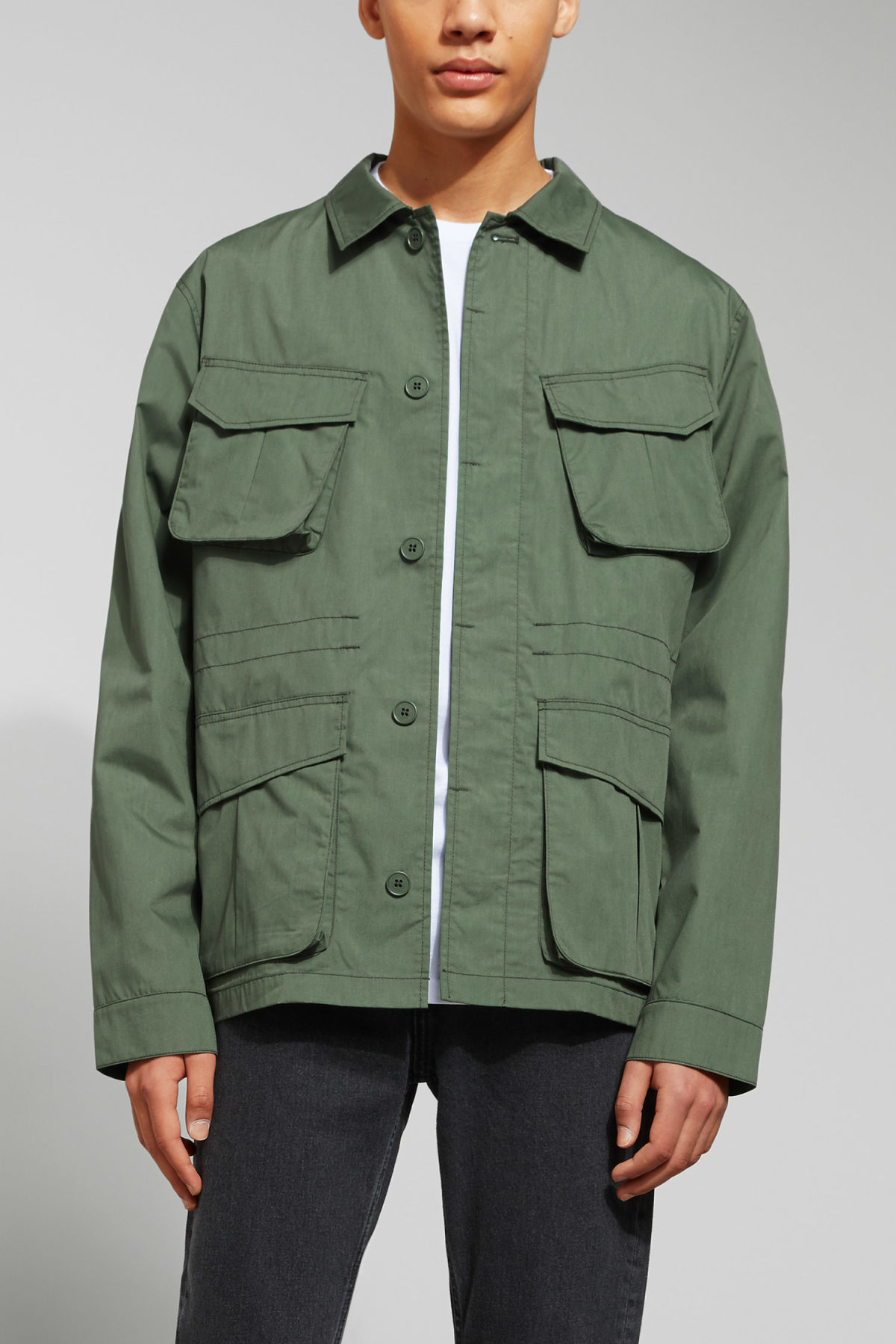 Model front image of Weekday keith pocket jacket in green