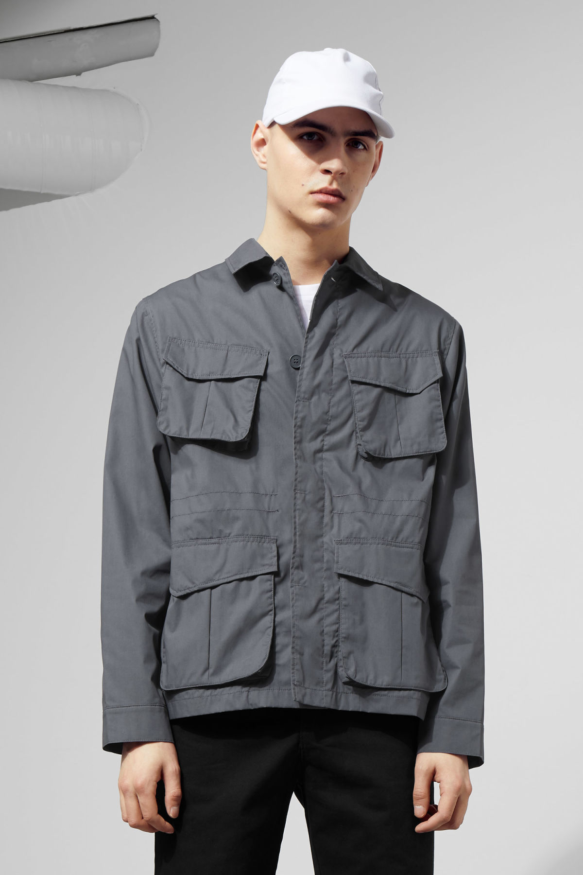 Model front image of Weekday keith pocket jacket in blue
