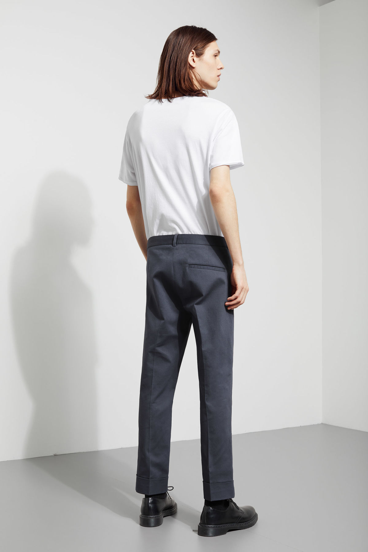 Model side image of Weekday santana trousers in blue