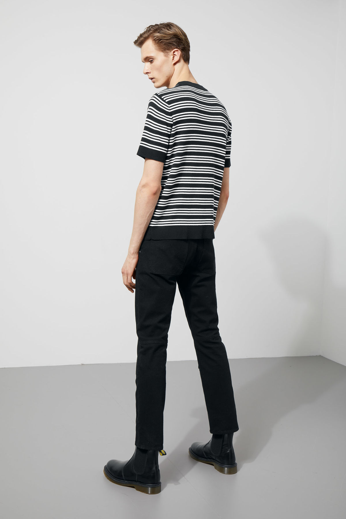 Model side image of Weekday joni knit t-shirt in black