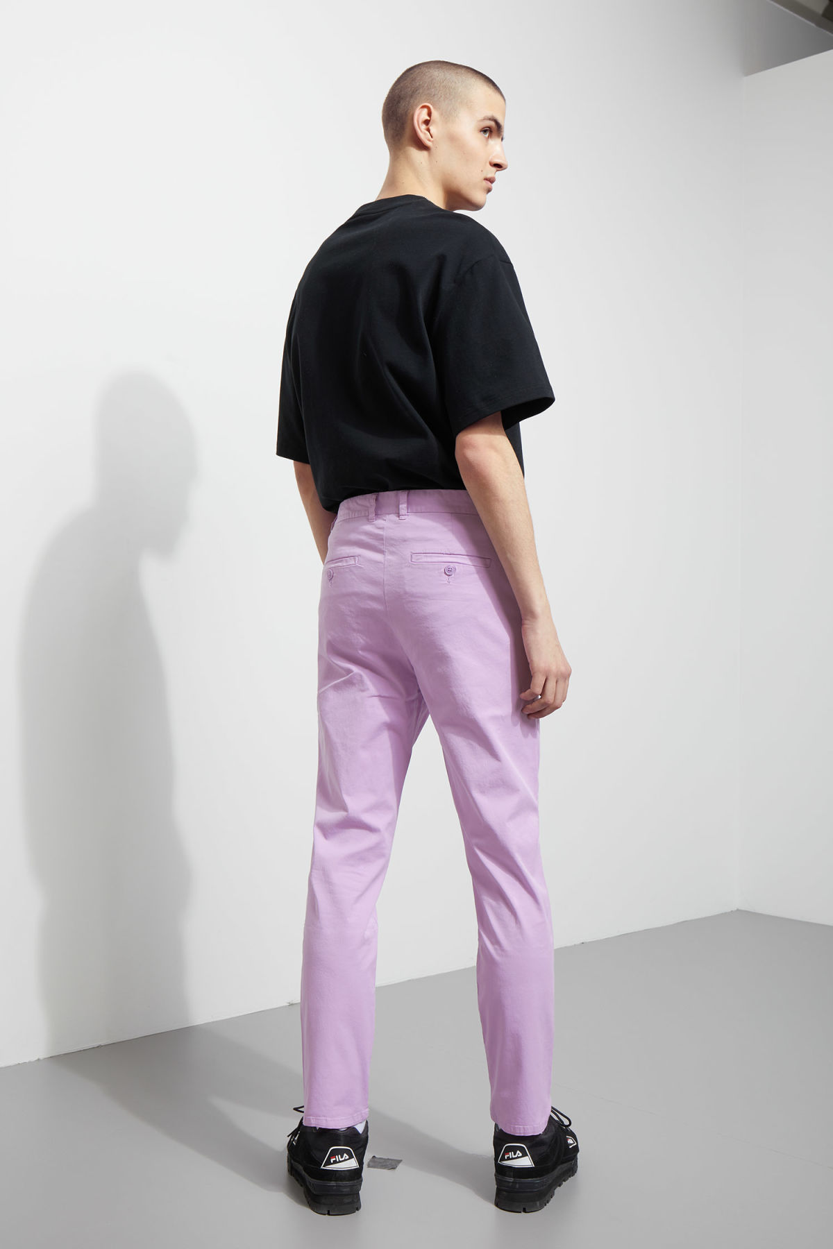 Model back image of Weekday forest garment dyed chinos in purple