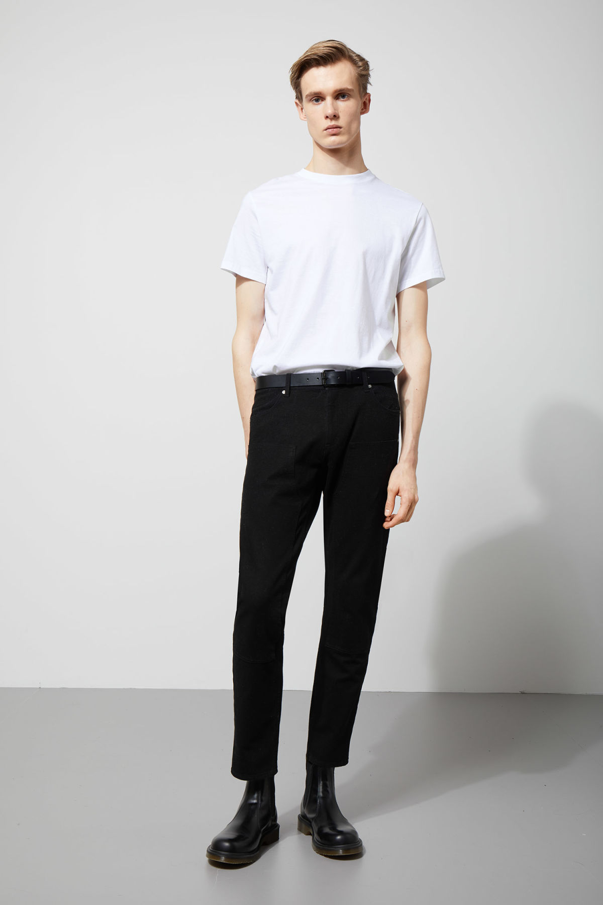 Model front image of Weekday grime trousers in black